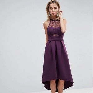 ASOS Plum Halter Lace Low Back Prom Dress